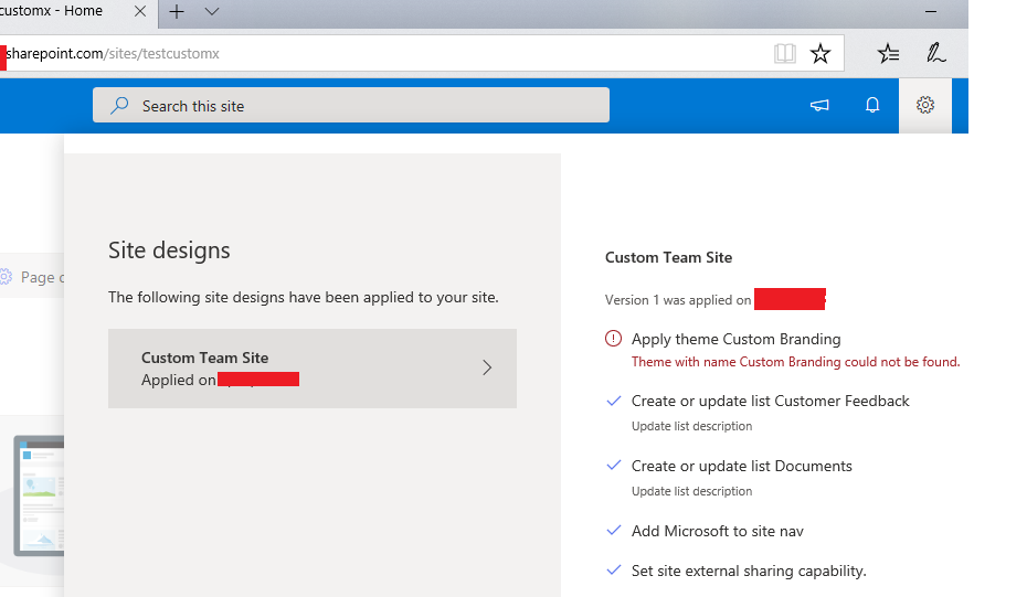 sharepoint site collection using site design and site script