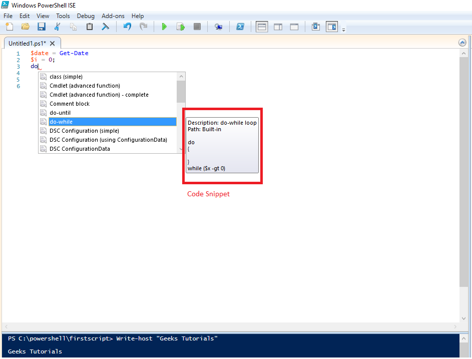 powershell-ise-code-snippet