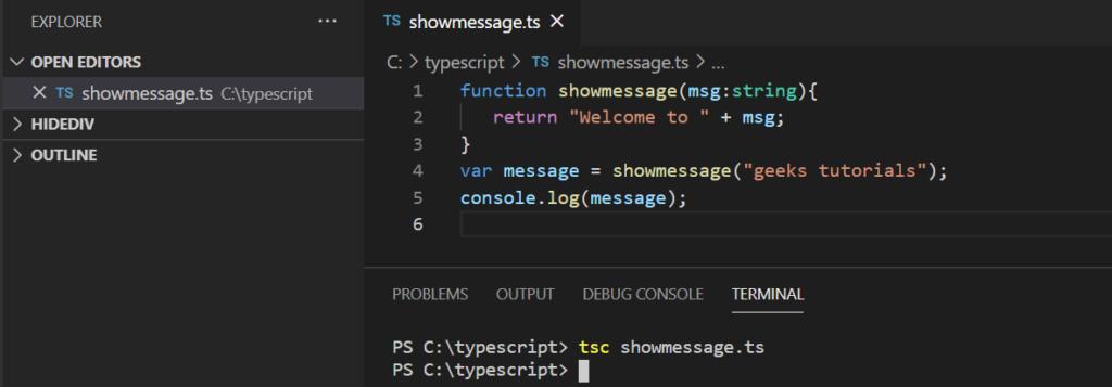 Complie typescript code